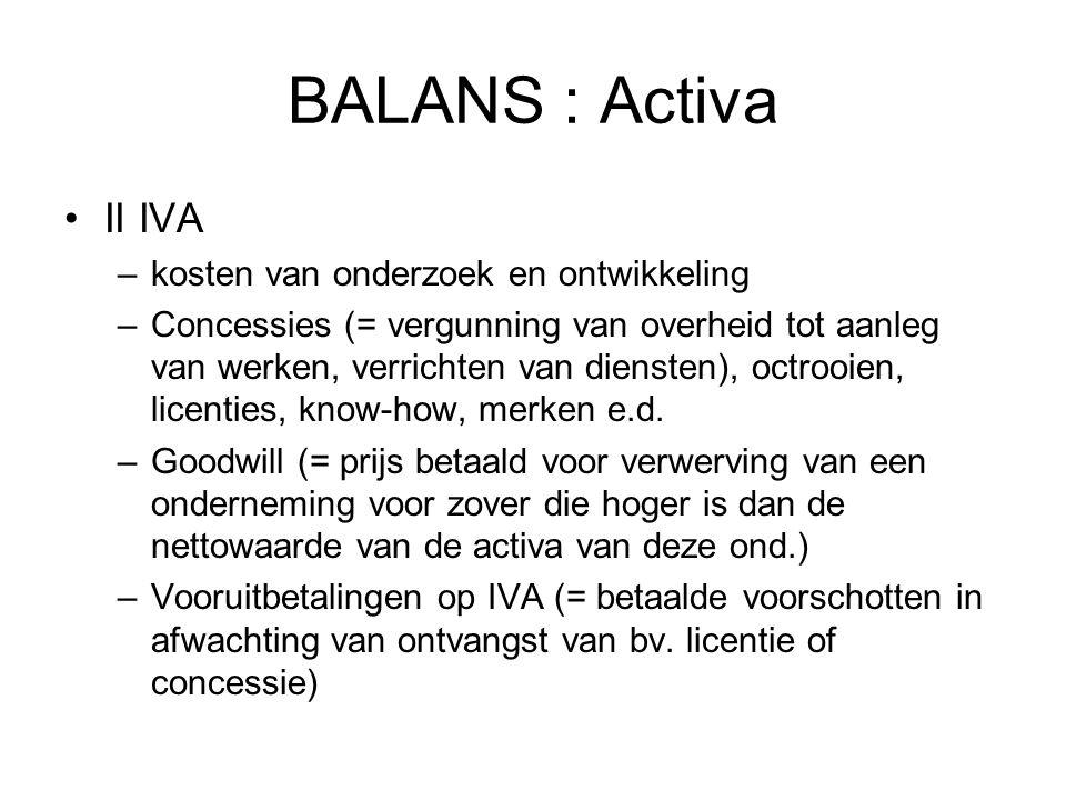 BALANS : Activa II IVA –kosten van onderzoek en ontwikkeling –Concessies (= vergunning van overheid tot aanleg van werken, verrichten van diensten), o