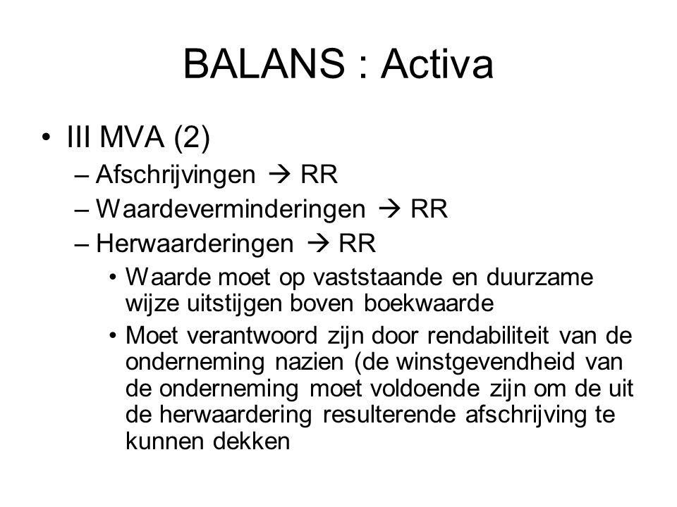 BALANS : Activa III MVA (2) –Afschrijvingen  RR –Waardeverminderingen  RR –Herwaarderingen  RR Waarde moet op vaststaande en duurzame wijze uitstij