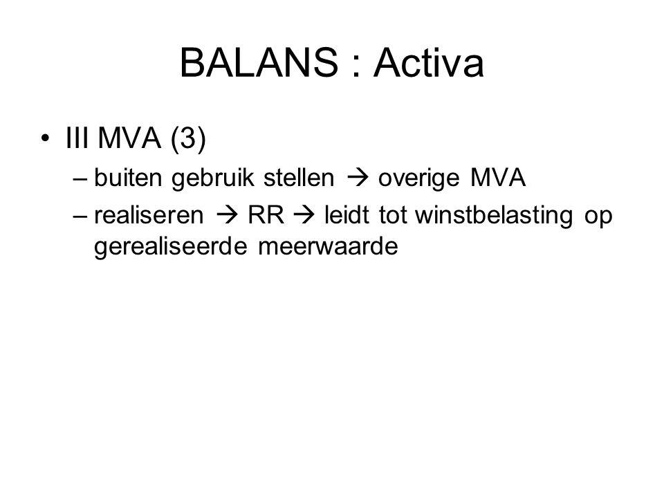 BALANS : Activa III MVA (3) –buiten gebruik stellen  overige MVA –realiseren  RR  leidt tot winstbelasting op gerealiseerde meerwaarde