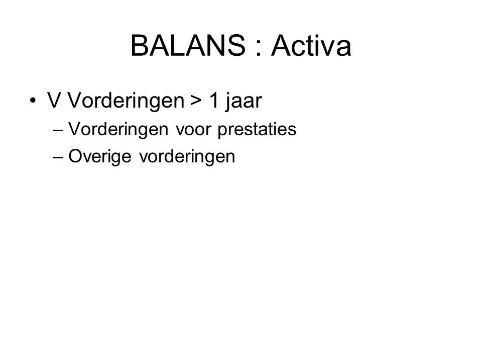 BALANS : Activa V Vorderingen > 1 jaar –Vorderingen voor prestaties –Overige vorderingen