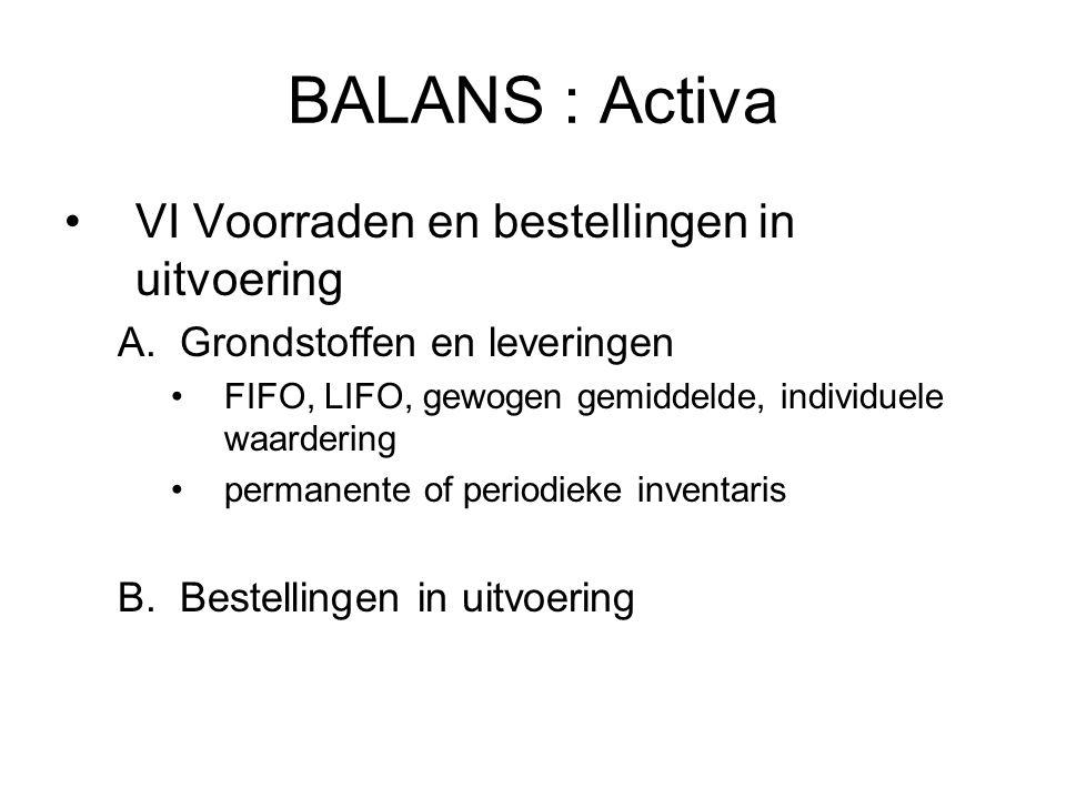 BALANS : Activa VI Voorraden en bestellingen in uitvoering A.Grondstoffen en leveringen FIFO, LIFO, gewogen gemiddelde, individuele waardering permane