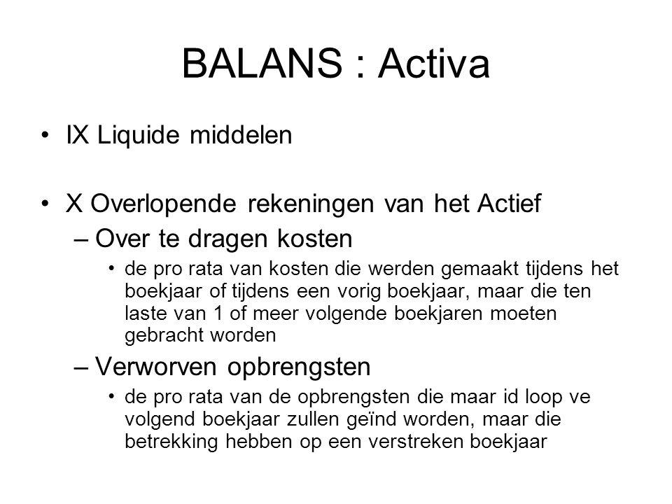 BALANS : Activa IX Liquide middelen X Overlopende rekeningen van het Actief –Over te dragen kosten de pro rata van kosten die werden gemaakt tijdens h