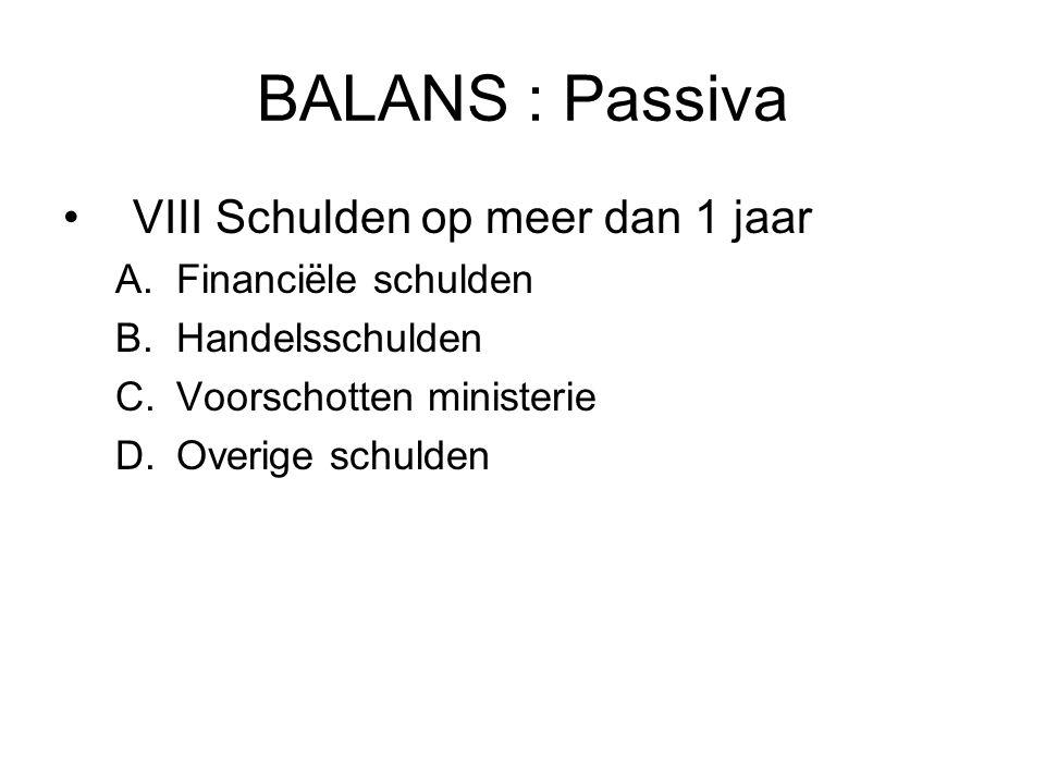 BALANS : Passiva VIII Schulden op meer dan 1 jaar A.Financiële schulden B.Handelsschulden C.Voorschotten ministerie D.Overige schulden