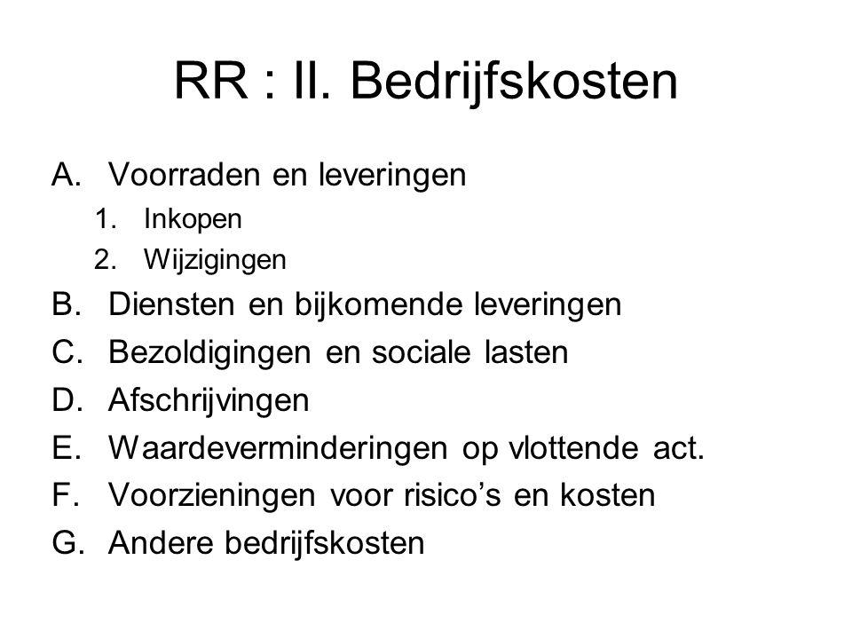 RR : II. Bedrijfskosten A.Voorraden en leveringen 1.Inkopen 2.Wijzigingen B.Diensten en bijkomende leveringen C.Bezoldigingen en sociale lasten D.Afsc