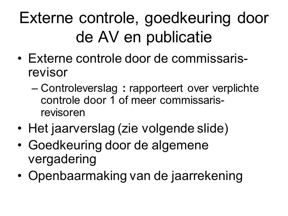 Externe controle, goedkeuring door de AV en publicatie Externe controle door de commissaris- revisor –Controleverslag : rapporteert over verplichte co