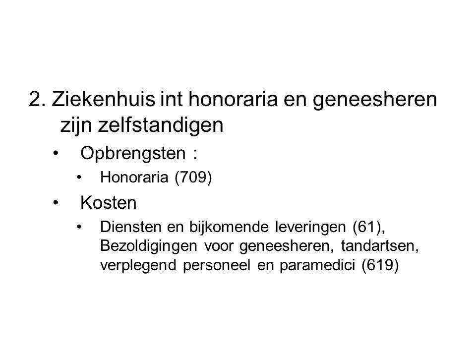 2. Ziekenhuis int honoraria en geneesheren zijn zelfstandigen Opbrengsten : Honoraria (709) Kosten Diensten en bijkomende leveringen (61), Bezoldiging