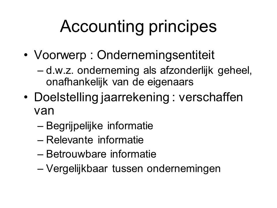 Voorwerp : Ondernemingsentiteit –d.w.z. onderneming als afzonderlijk geheel, onafhankelijk van de eigenaars Doelstelling jaarrekening : verschaffen va