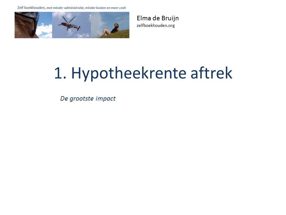 1. Hypotheekrente aftrek Elma de Bruijn zelfboekhouden.org De grootste impact