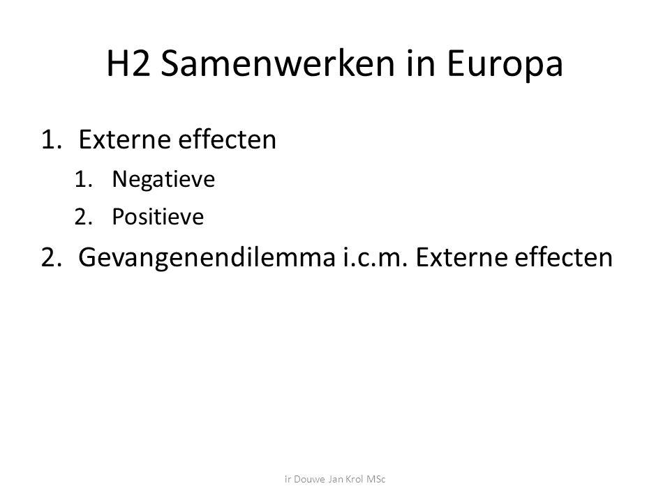 H2 Samenwerken in Europa 1.Externe effecten 1.Negatieve 2.Positieve 2.Gevangenendilemma i.c.m.