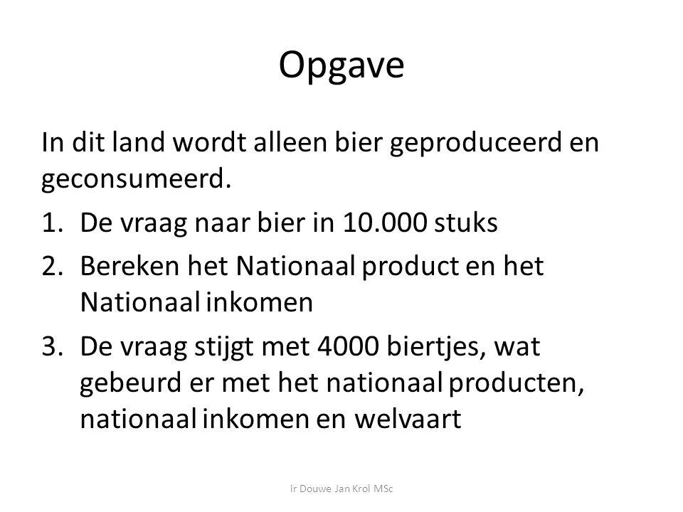 Opgave In dit land wordt alleen bier geproduceerd en geconsumeerd.