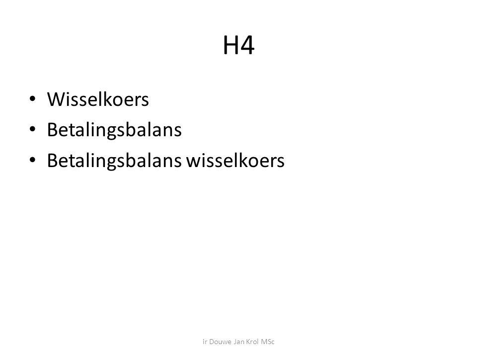 H4 Wisselkoers Betalingsbalans Betalingsbalans wisselkoers ir Douwe Jan Krol MSc