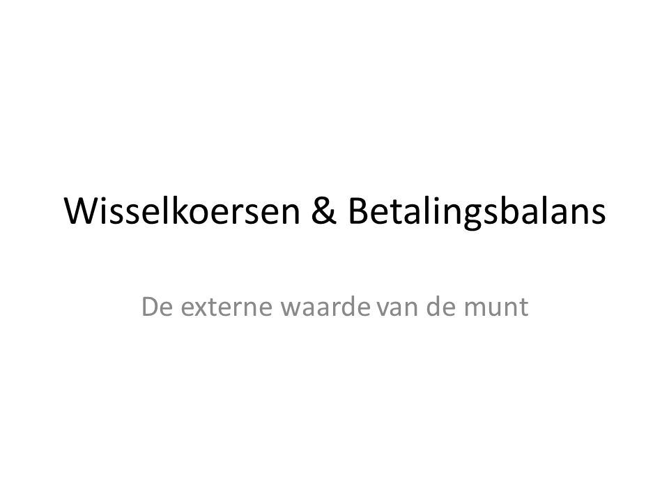 De externe waarde van de munt Wisselkoersen & Betalingsbalans