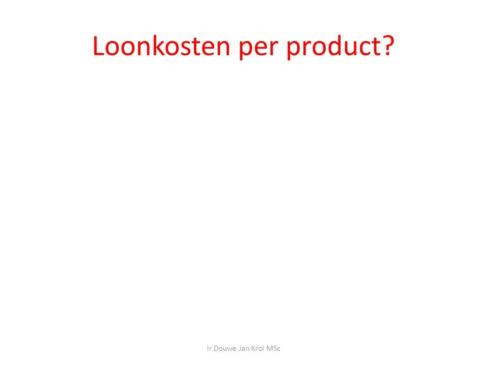 Loonkosten per product? ir Douwe Jan Krol MSc