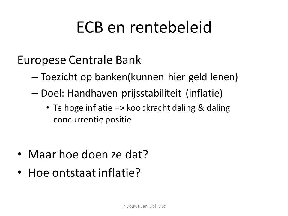 ECB en rentebeleid Europese Centrale Bank – Toezicht op banken(kunnen hier geld lenen) – Doel: Handhaven prijsstabiliteit (inflatie) Te hoge inflatie => koopkracht daling & daling concurrentie positie Maar hoe doen ze dat.