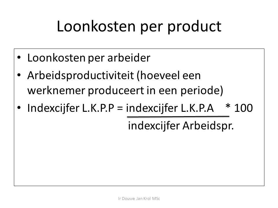 Loonkosten per product Loonkosten per arbeider Arbeidsproductiviteit (hoeveel een werknemer produceert in een periode) Indexcijfer L.K.P.P = indexcijfer L.K.P.A * 100 indexcijfer Arbeidspr.