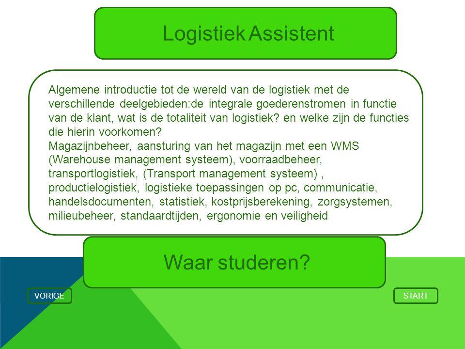 Logistiek Assistent VORIGESTART Algemene introductie tot de wereld van de logistiek met de verschillende deelgebieden:de integrale goederenstromen in