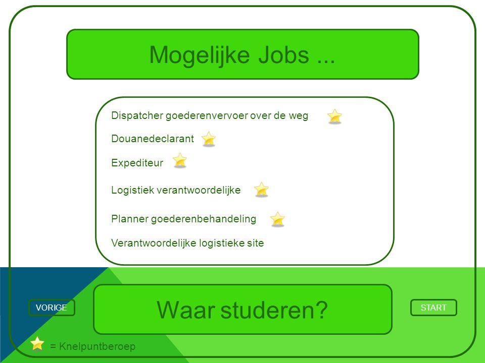 Mogelijke Jobs... Waar studeren? STARTVORIGE = Knelpuntberoep Planner goederenbehandeling Logistiek verantwoordelijke Expediteur Douanedeclarant Dispa