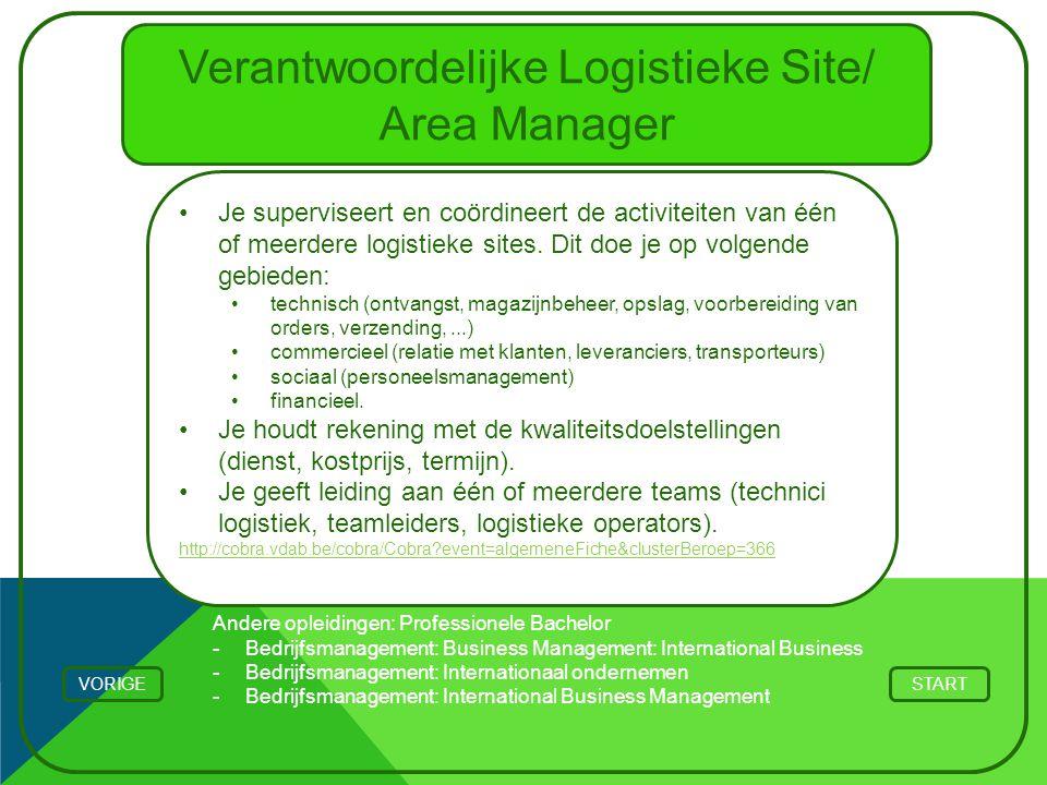 Verantwoordelijke Logistieke Site/ Area Manager Je superviseert en coördineert de activiteiten van één of meerdere logistieke sites. Dit doe je op vol