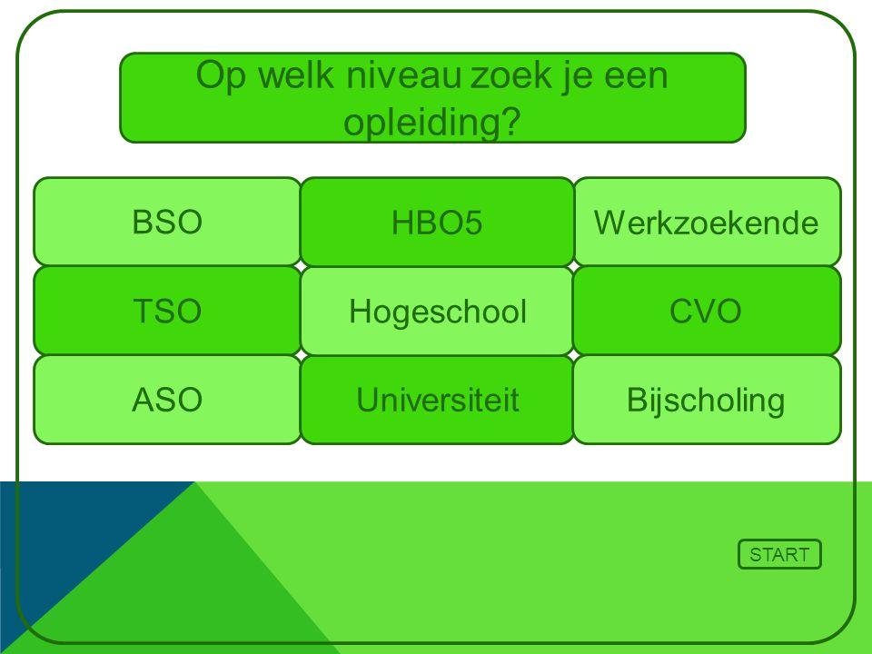 TSO ASO BSO Universiteit Hogeschool Werkzoekende START CVO Op welk niveau zoek je een opleiding? Bijscholing HBO5