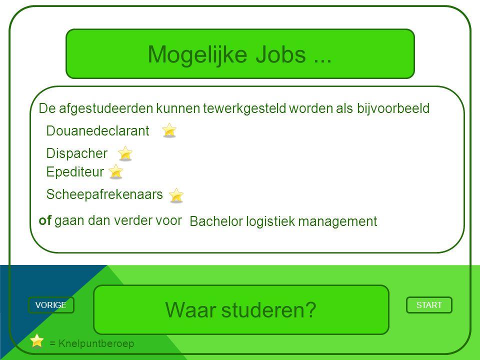 Mogelijke Jobs... Waar studeren? STARTVORIGE = Knelpuntberoep De afgestudeerden kunnen tewerkgesteld worden als bijvoorbeeld of gaan dan verder voor D
