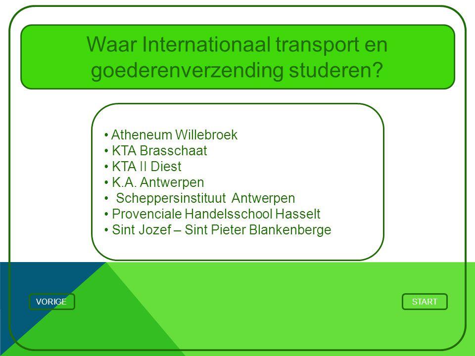START Waar Internationaal transport en goederenverzending studeren? Atheneum Willebroek KTA Brasschaat KTA II Diest K.A. Antwerpen Scheppersinstituut