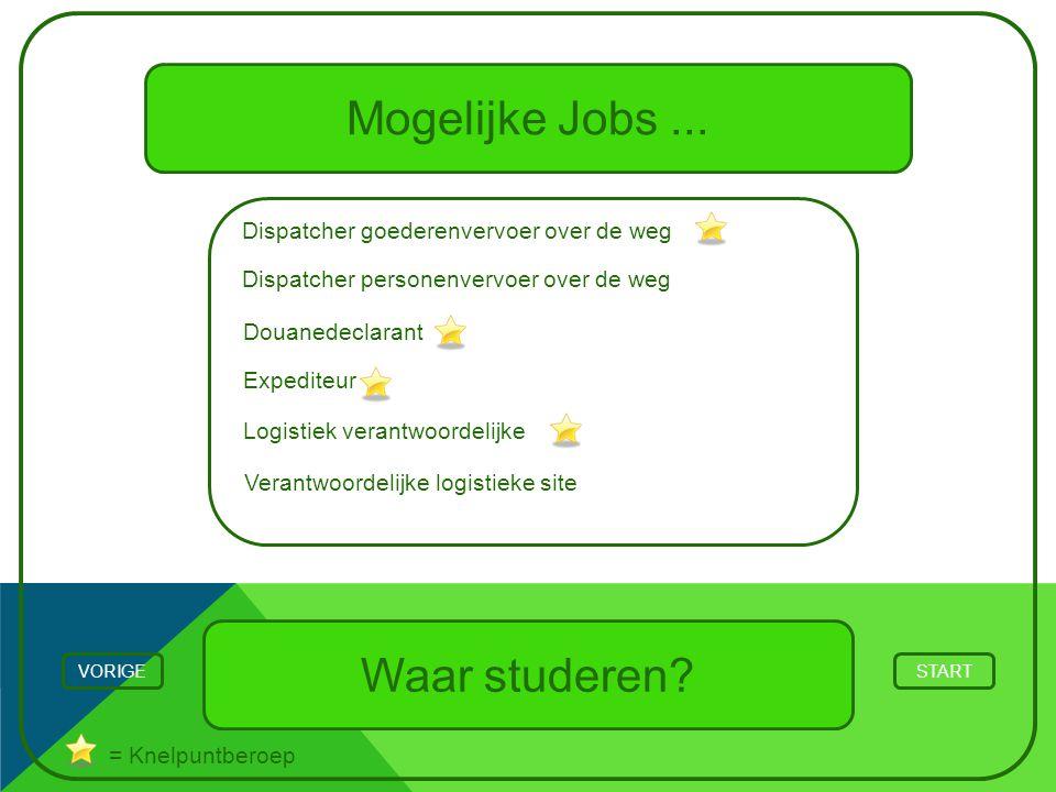 Mogelijke Jobs... Waar studeren? STARTVORIGE = Knelpuntberoep Logistiek verantwoordelijke Expediteur Douanedeclarant Dispatcher goederenvervoer over d
