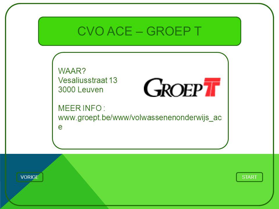CVO ACE – GROEP T WAAR? Vesaliusstraat 13 3000 Leuven MEER INFO : www.groept.be/www/volwassenenonderwijs_ac e STARTVORIGE