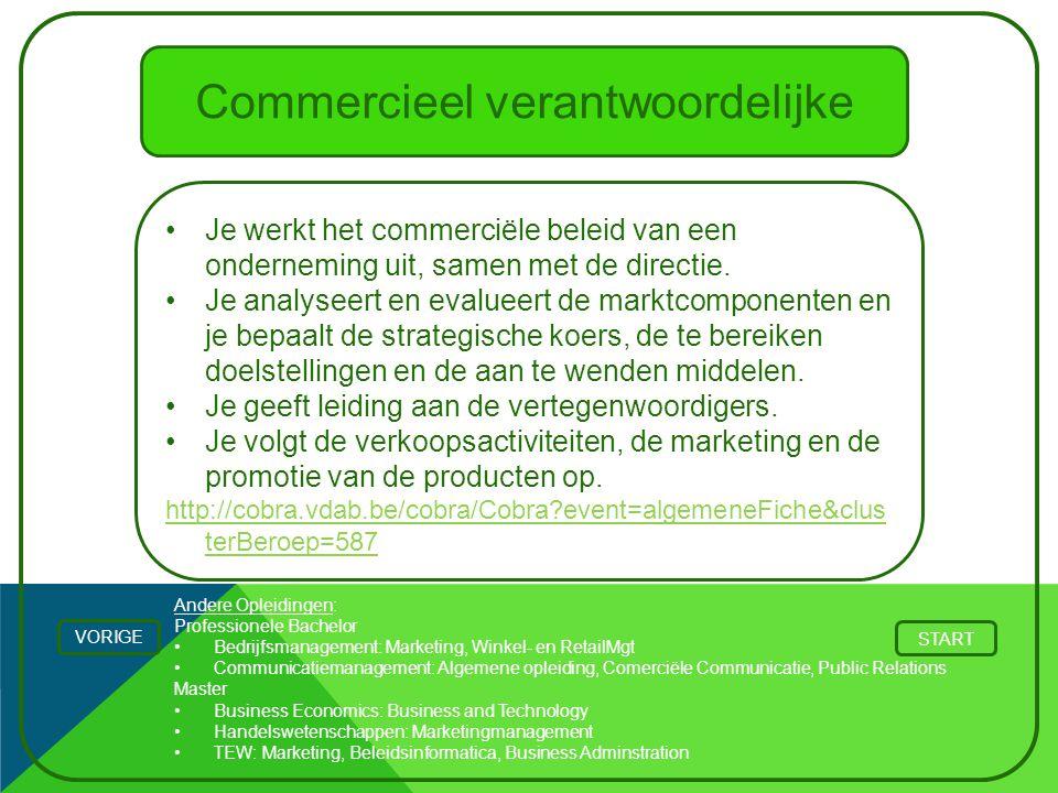 Andere Opleidingen: Professionele Bachelor Bedrijfsmanagement: Marketing, Winkel- en RetailMgt Communicatiemanagement: Algemene opleiding, Comerciële
