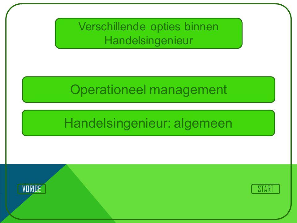 Verschillende opties binnen Handelsingenieur Operationeel management STARTVORIGE Handelsingenieur: algemeen