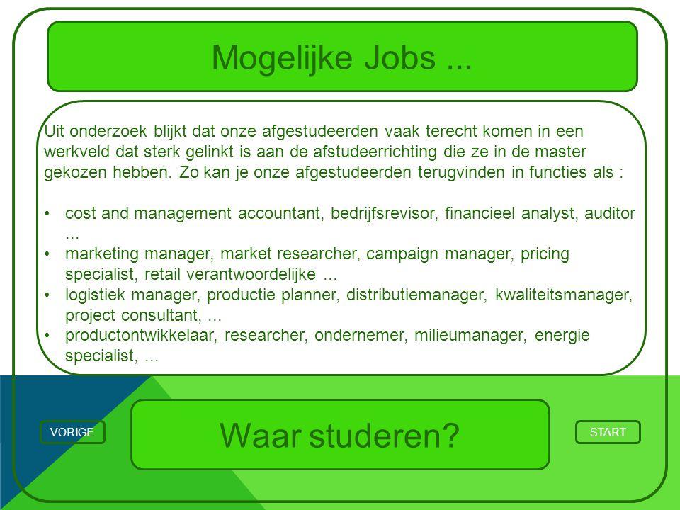 Mogelijke Jobs... STARTVORIGE Waar studeren? Uit onderzoek blijkt dat onze afgestudeerden vaak terecht komen in een werkveld dat sterk gelinkt is aan
