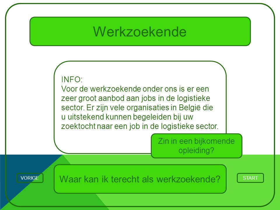 Werkzoekende STARTVORIGE INFO: Voor de werkzoekende onder ons is er een zeer groot aanbod aan jobs in de logistieke sector. Er zijn vele organisaties