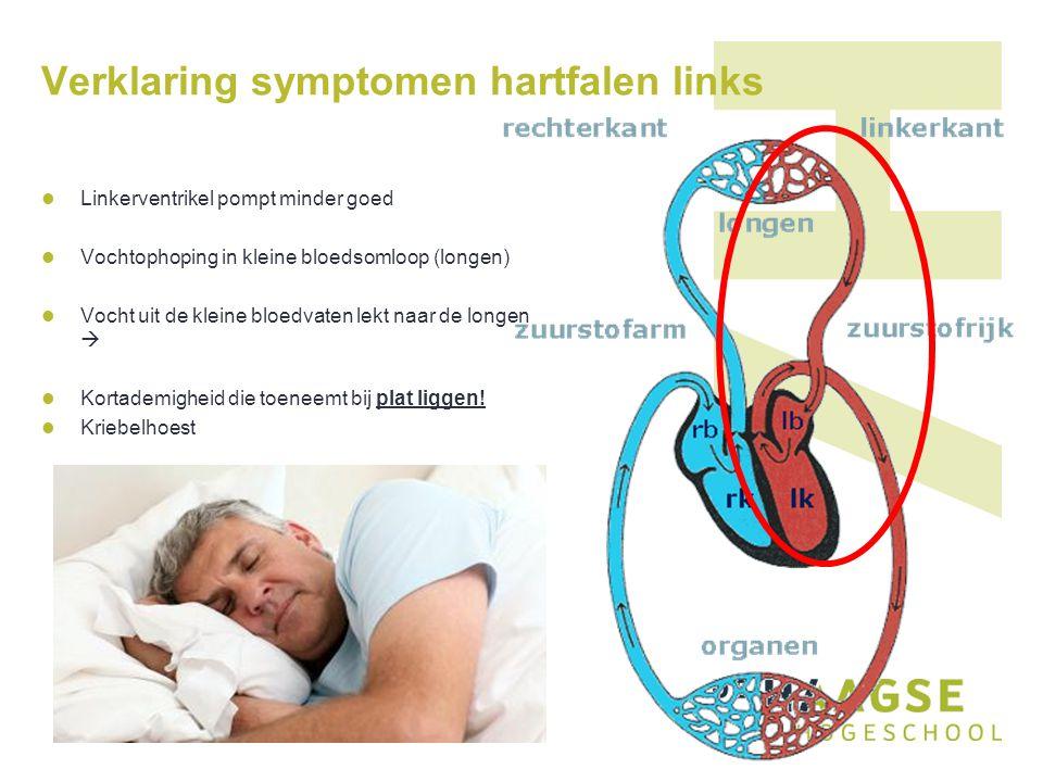 Verklaring symptomen hartfalen rechts Rechterventrikel pompt minder goed Vochtophoping in grote bloedsomloop Vocht lekt uit de kleine bloedvaten  Oedeem in buik, benen en voeten