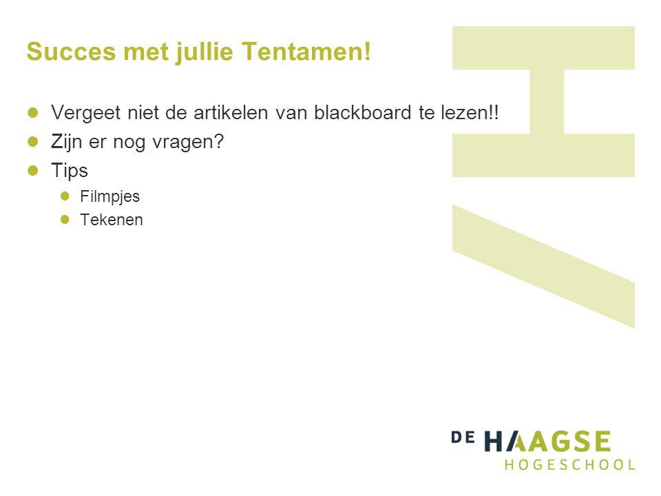 Succes met jullie Tentamen! Vergeet niet de artikelen van blackboard te lezen!! Zijn er nog vragen? Tips Filmpjes Tekenen