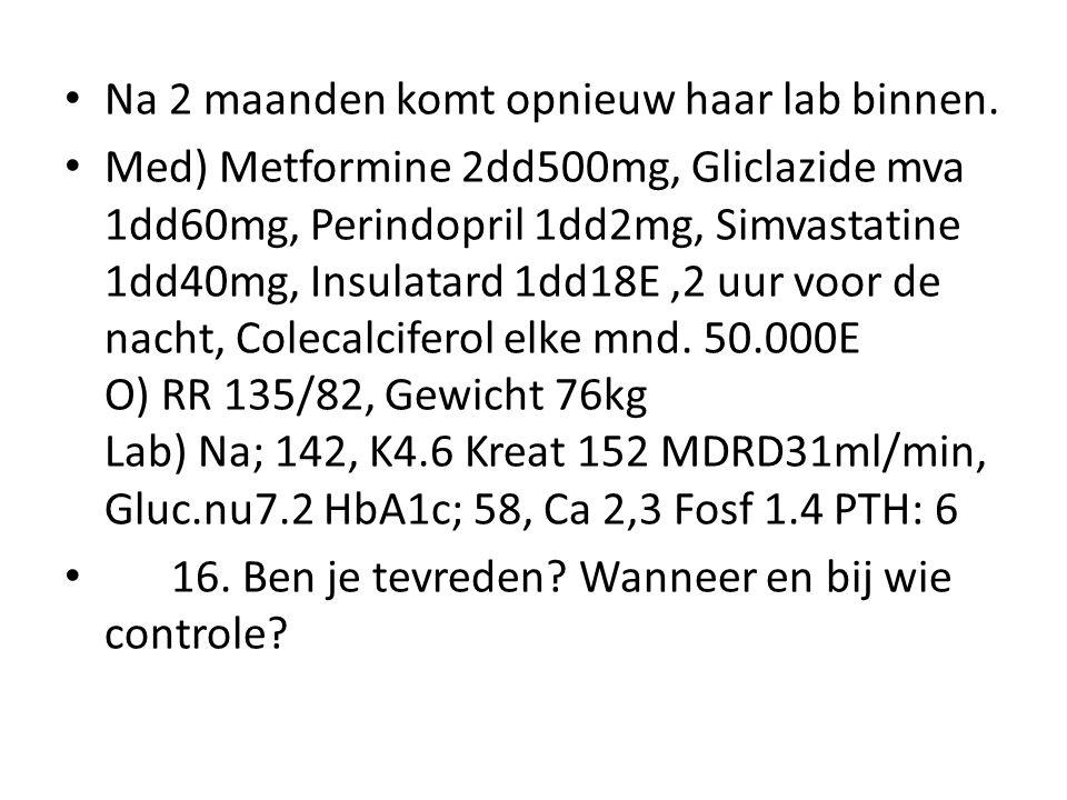 Na 2 maanden komt opnieuw haar lab binnen. Med) Metformine 2dd500mg, Gliclazide mva 1dd60mg, Perindopril 1dd2mg, Simvastatine 1dd40mg, Insulatard 1dd1