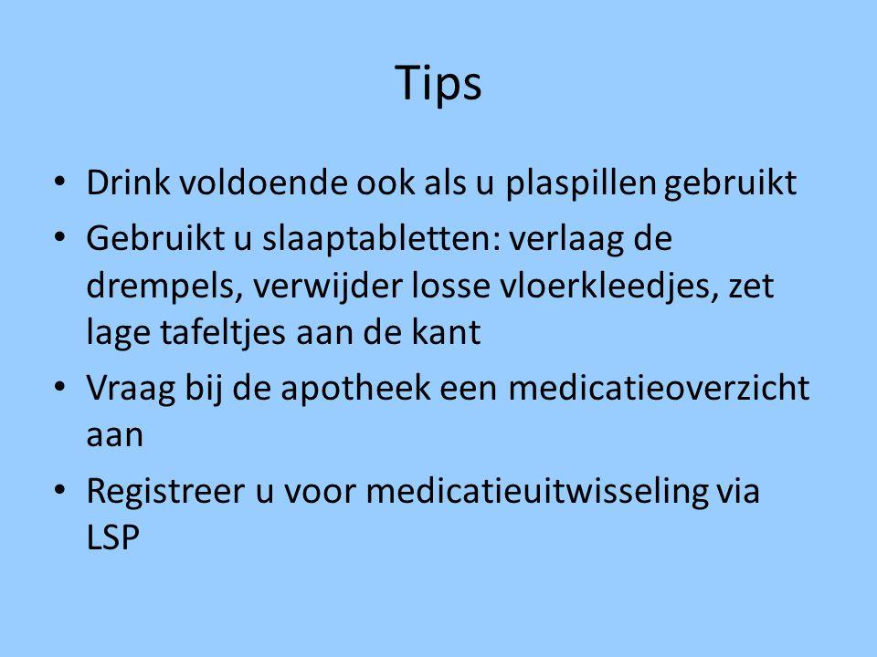 Tips Drink voldoende ook als u plaspillen gebruikt Gebruikt u slaaptabletten: verlaag de drempels, verwijder losse vloerkleedjes, zet lage tafeltjes a