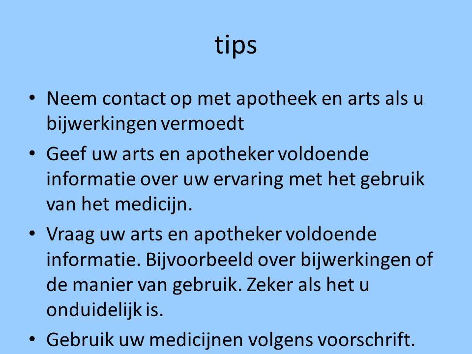 tips Neem contact op met apotheek en arts als u bijwerkingen vermoedt Geef uw arts en apotheker voldoende informatie over uw ervaring met het gebruik