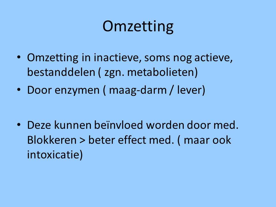 Omzetting Omzetting in inactieve, soms nog actieve, bestanddelen ( zgn. metabolieten) Door enzymen ( maag-darm / lever) Deze kunnen beïnvloed worden d