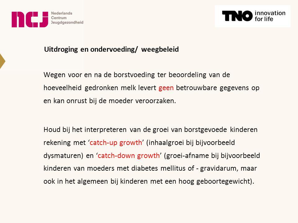 Uitdroging en ondervoeding/ weegbeleid Wegen voor en na de borstvoeding ter beoordeling van de hoeveelheid gedronken melk levert geen betrouwbare gege