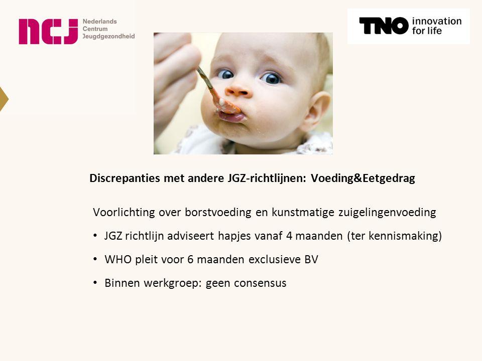 Discrepanties met andere JGZ-richtlijnen: Voeding&Eetgedrag Voorlichting over borstvoeding en kunstmatige zuigelingenvoeding JGZ richtlijn adviseert h