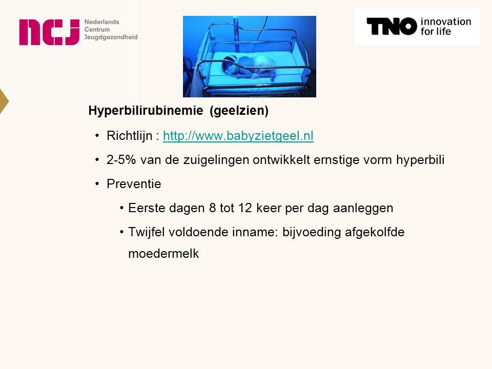 Hyperbilirubinemie (geelzien) Richtlijn : http://www.babyzietgeel.nlhttp://www.babyzietgeel.nl 2-5% van de zuigelingen ontwikkelt ernstige vorm hyperb
