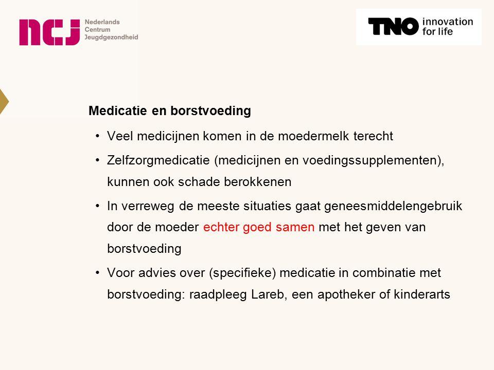 Medicatie en borstvoeding Veel medicijnen komen in de moedermelk terecht Zelfzorgmedicatie (medicijnen en voedingssupplementen), kunnen ook schade ber