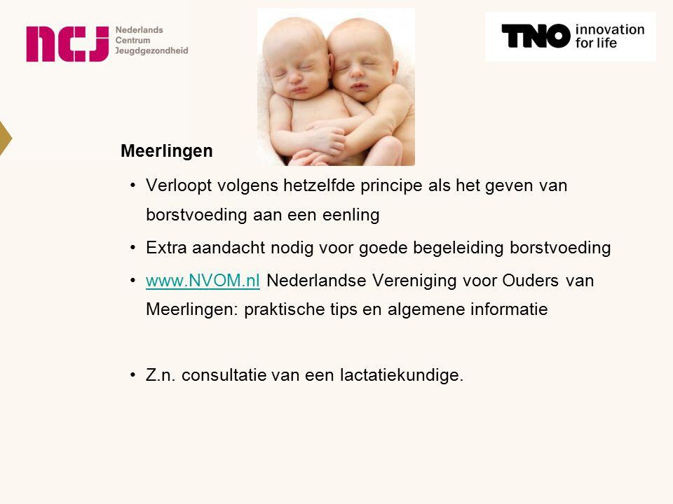 Meerlingen Verloopt volgens hetzelfde principe als het geven van borstvoeding aan een eenling Extra aandacht nodig voor goede begeleiding borstvoeding