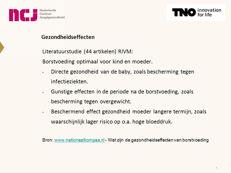 Gezondheidseffecten Literatuurstudie (44 artikelen) RIVM: Borstvoeding optimaal voor kind en moeder.
