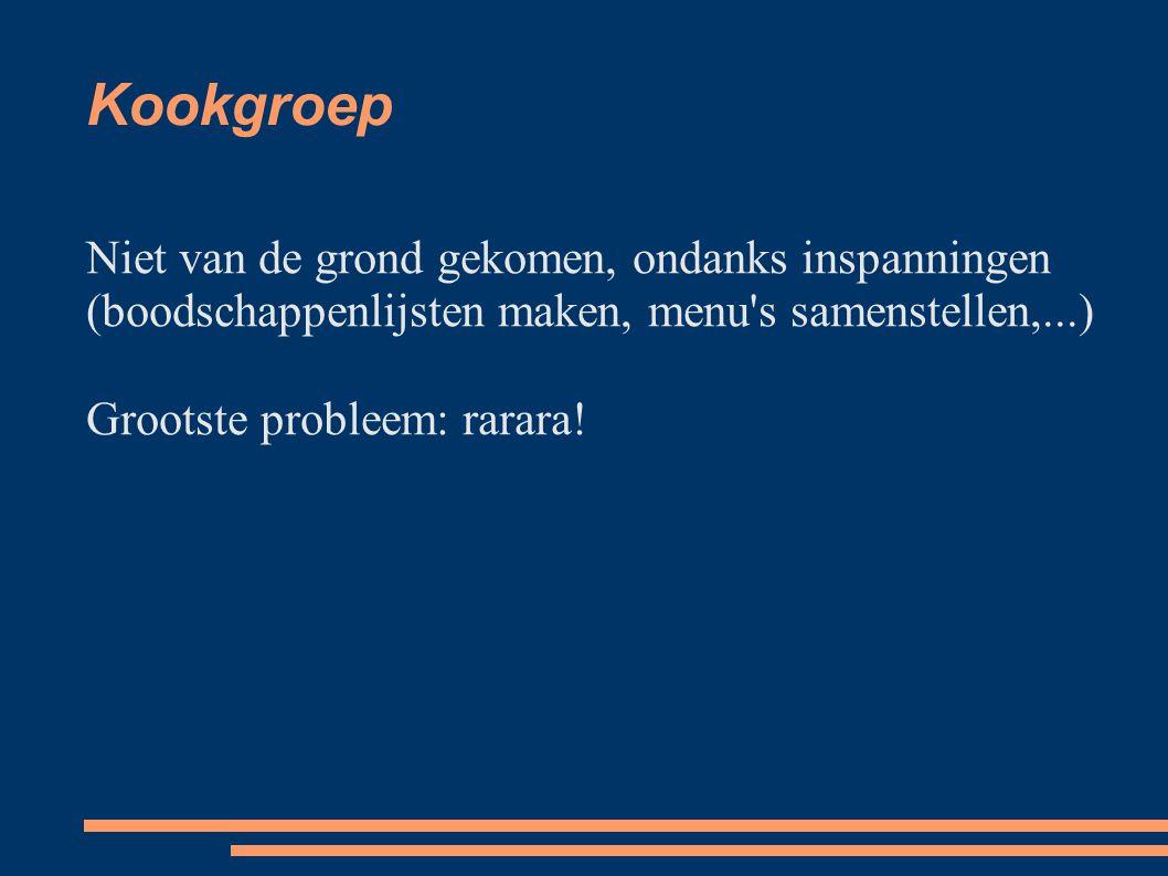 Kookgroep Niet van de grond gekomen, ondanks inspanningen (boodschappenlijsten maken, menu s samenstellen,...) Grootste probleem: rarara!