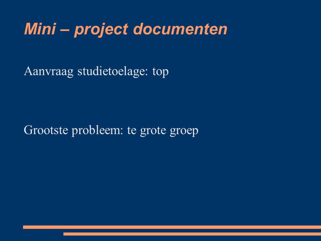 Mini – project documenten Aanvraag studietoelage: top Grootste probleem: te grote groep