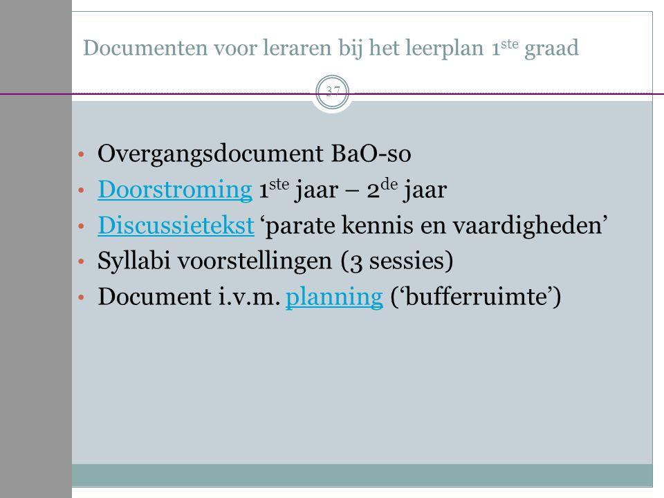 Documenten voor leraren bij het leerplan 1 ste graad Overgangsdocument BaO-so Doorstroming 1 ste jaar – 2 de jaar Doorstroming Discussietekst 'parate