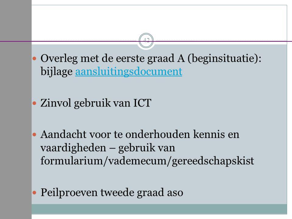 Overleg met de eerste graad A (beginsituatie): bijlage aansluitingsdocumentaansluitingsdocument Zinvol gebruik van ICT Aandacht voor te onderhouden ke