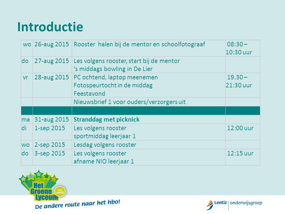 Introductie wo 26-aug 2015 Rooster halen bij de mentor en schoolfotograaf 08:30 – 10:30 uur do 27-aug 2015 Les volgens rooster, start bij de mentor 's
