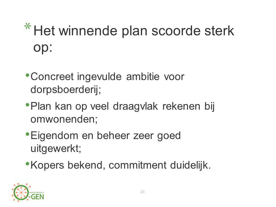 * Het winnende plan scoorde sterk op: Concreet ingevulde ambitie voor dorpsboerderij; Plan kan op veel draagvlak rekenen bij omwonenden; Eigendom en beheer zeer goed uitgewerkt; Kopers bekend, commitment duidelijk.