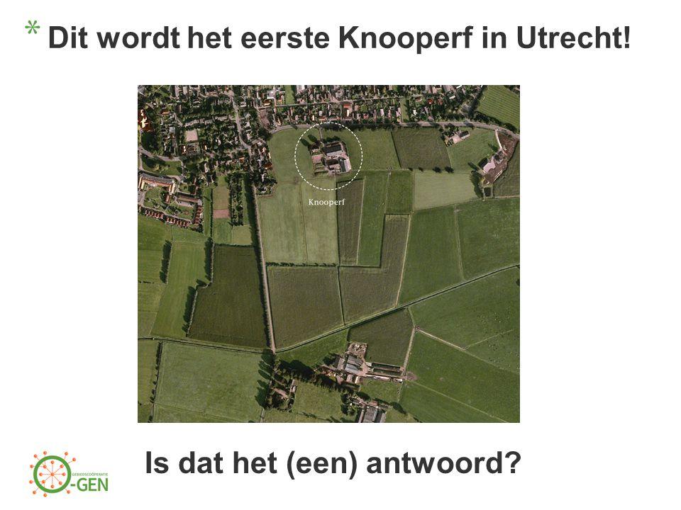 * Dit wordt het eerste Knooperf in Utrecht! Is dat het (een) antwoord